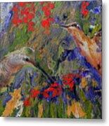 Hummingbirds 2, Abstract Art Metal Print