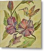 Hummingbirds And Hibiscus Metal Print