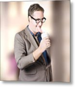 Humorous Businessman Licking Top Of Coffee Cup Metal Print
