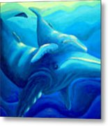 Humpback With Calf Metal Print