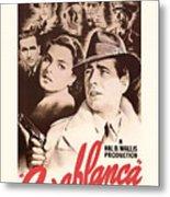 Humphrey Bogard And Ingrid Bergman In Casablanca 1942 Metal Print