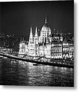 Hungarian Parliament Night Bw Metal Print