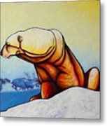 Hunger Burns - Polar Bear And Caribou Metal Print