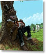 Hungry Bad Wolf In Field With Little Sheep Metal Print by Martin Davey