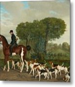 Hunter With A Pack Of Dogs Metal Print