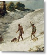 Hunters In The Snow Or The Poachers Metal Print by Gustave Courbet