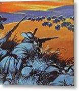 Hunting Buffalo In America Metal Print