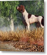 Hunting Dog By A River Metal Print