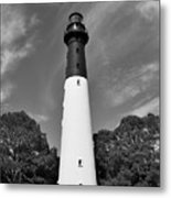 Hunting Island Lighthouse Beaufort Sc Black And White Metal Print