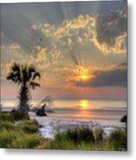 Hunting Island Sc Sunrise Palm Metal Print