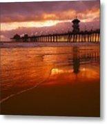 Huntington Beach At Sunset Metal Print