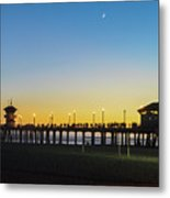 Huntington Beach High Surf At Night Metal Print