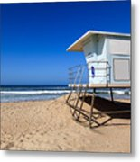 Huntington Beach Lifeguard Tower Photo Metal Print by Paul Velgos