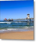 Huntington Beach Pier In Orange County California Metal Print