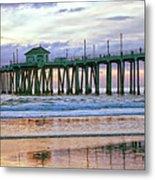 Huntington Beach Pier Panorama Colo Metal Print