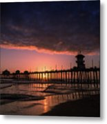 Huntington Pier At Sunset Metal Print