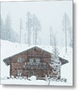 Huts And Winter Landscapes Metal Print