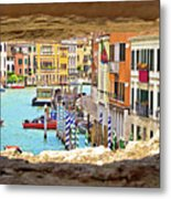 Hvar Bay Aerial View Through Stone Window Metal Print