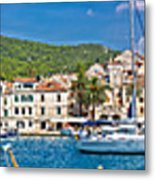 Hvar Yachting Harbor And Historic Architecture Panoramic  Metal Print