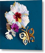 Hybiscus And Butterfly Metal Print