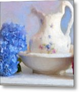 Hydrangea And Wash Basin Metal Print