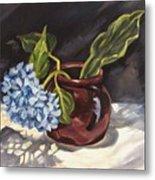 Hydrangea In A Bean Pot Metal Print