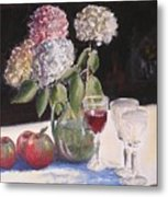 Hydrangeas Apples And Wine Metal Print