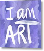 I Am Art Painted Blue And White- By Linda Woods Metal Print