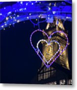 I Heart Boston Ma Christopher Columbus Park Trellis Lit Up For Valentine's Day Metal Print
