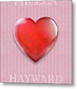I Hella Love Hayward Ruby Red Heart On Pink Flannel Metal Print