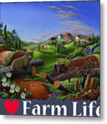 I Love Farm Life T Shirt - Spring Groundhog - Country Farm Landscape 2 Metal Print