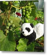 I Love Grapes Says The Panda Metal Print