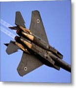 Iaf F15i Fighter Jet On Blue Sky Metal Print