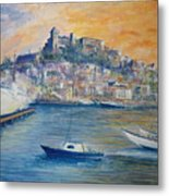 Ibiza Old Town Marina And Port Metal Print
