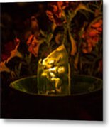 Ice Candle With Petunias Metal Print