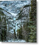 Ice Climbers Approaching Professor Falls Rated Wi4 In Banff Nati Metal Print