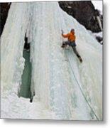 Ice Climbing Mummy II In Haylite Canyon Near Bozeman Metal Print