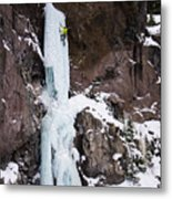 Ice Climbing The Scepter In Hyalite Canyon Metal Print