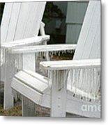 Ice-coated Chairs Metal Print