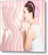 Ice Cream Pin-up Poster Girl Licking Waffle Cone Metal Print