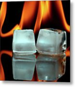 Ice Cubes On Fire Metal Print