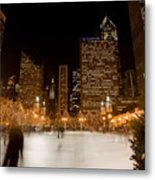 Ice Skaters And Chicago Skyline Metal Print