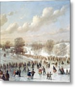 Ice Skating, 1865 Metal Print