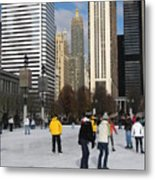 Ice Skating In The Park Metal Print