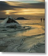 Ice Trail Hikers Metal Print