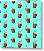Iced Coffee To Go Pattern Metal Print