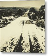 Iced Over Road Metal Print
