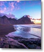 Iceland Beach Sunrise At Stokksnes Metal Print