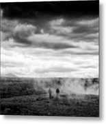 Iceland Black And White Landscape Haukadalur Metal Print