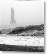 Iceland Black Sand Beach Wave Two Metal Print